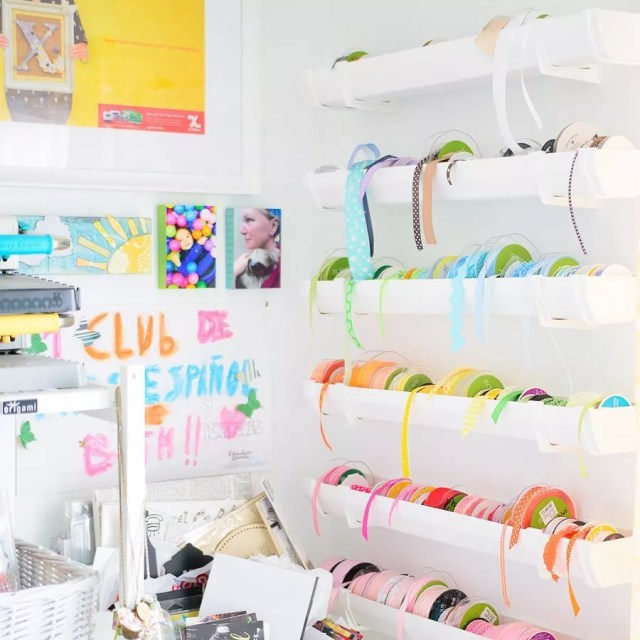 Craft room ribbon organization. Photo by Instagram user @thekingstonhome