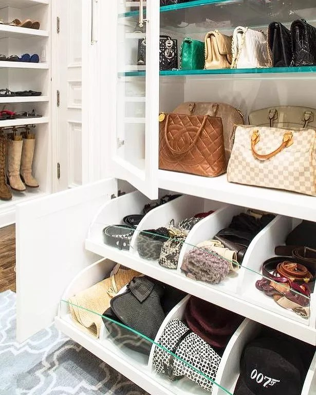 Slide-out closet drawers. Photo by Instagram user @laclosetdesign