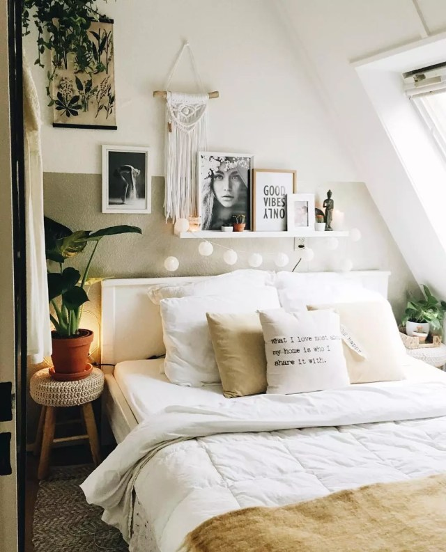 Bedroom with Small Plants on Nightstands. Photo by Instagram user @lovedbysheila