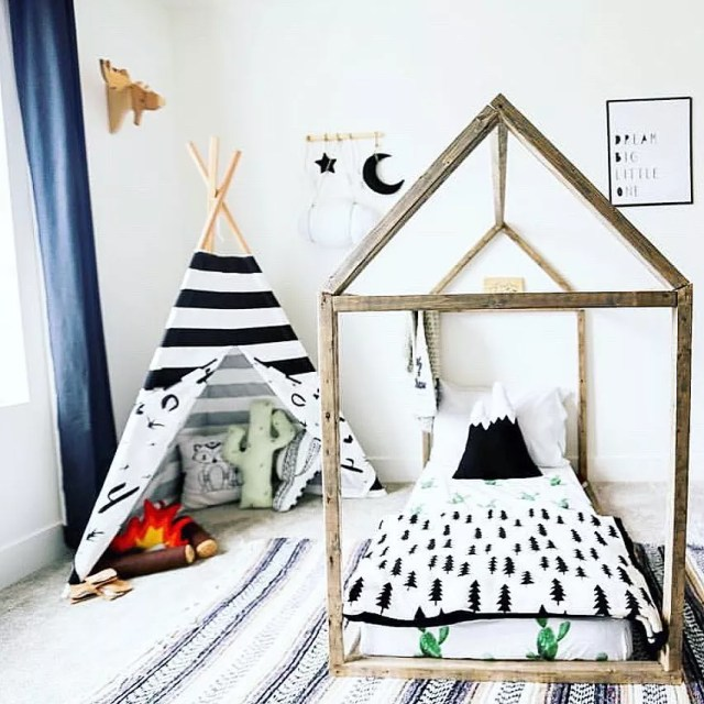 Kids Room with Bed on Floor and Tepee. Photo by Instagram user @projectwhim