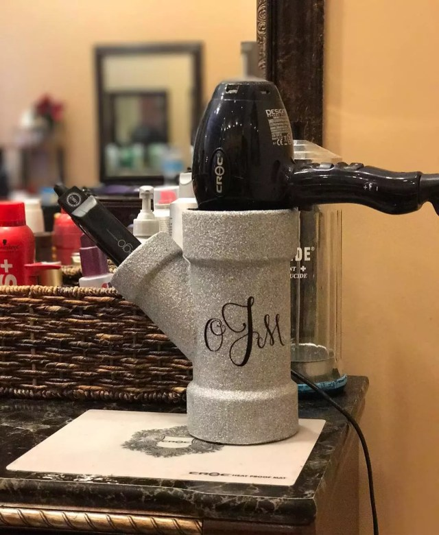 Blow Dryer Stored Safetly in Cup. Photo by Instagram user @glitteredpup_designs