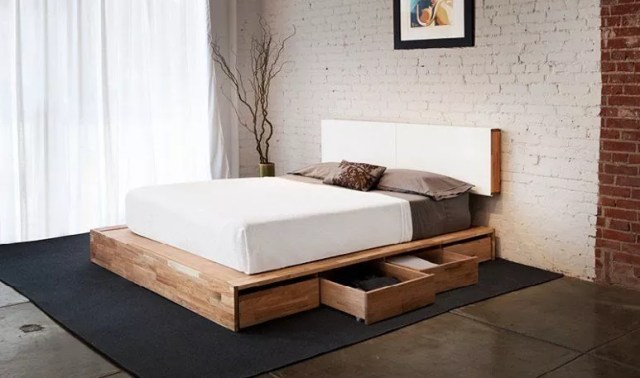 Platform Bed with Drawers Underneath. Photo by Instagram user @laxseries