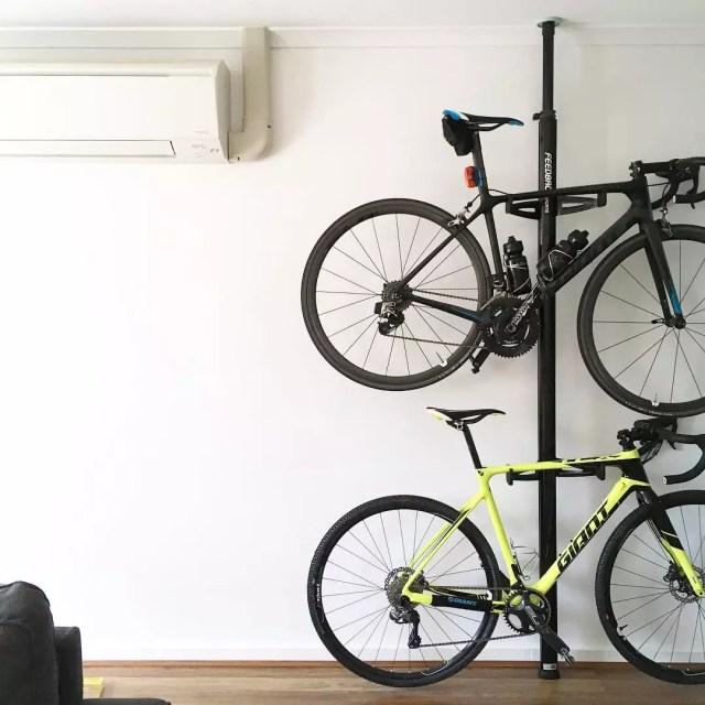 Bikes Stored Vertically in Garage. Photo by Instagram user @megantrinh_12