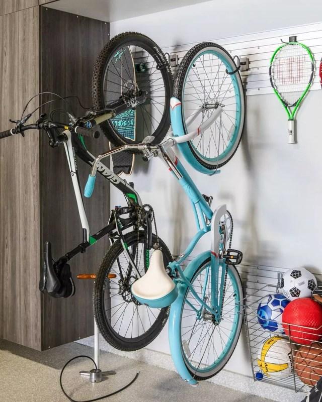 Sports Equipment in Wire Storage in Garage. Photo by Instagram user @tailoredbymonica