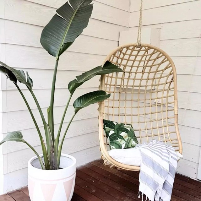 hanging chair set up outside next to plant photo by Instagram user @cassievan1