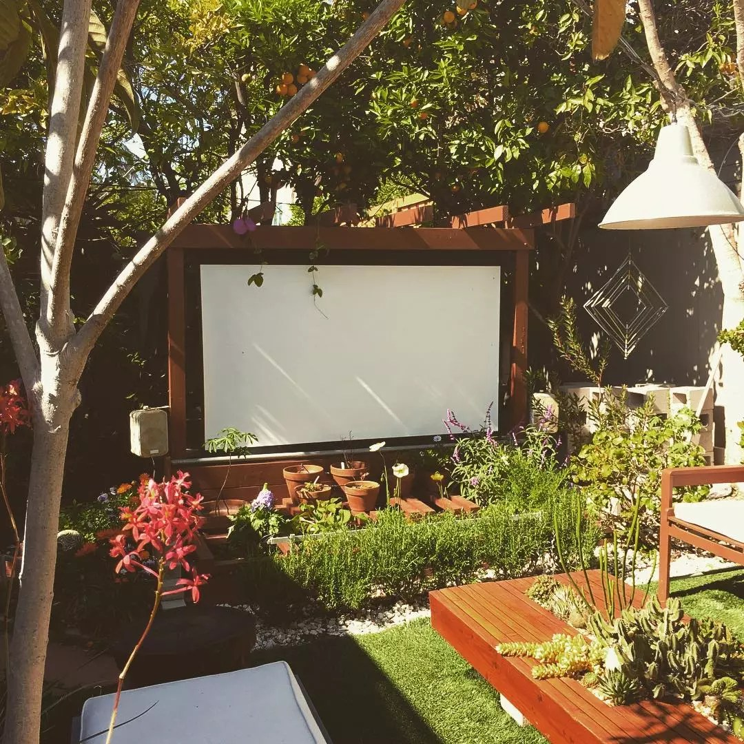 outdoor projection screen set up in backyard area photo by Instagram user @thehorticult