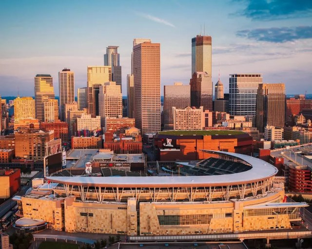 minneapolis skyline looking at Target field at dusk from drone photo by Instagram user @skycandystudios