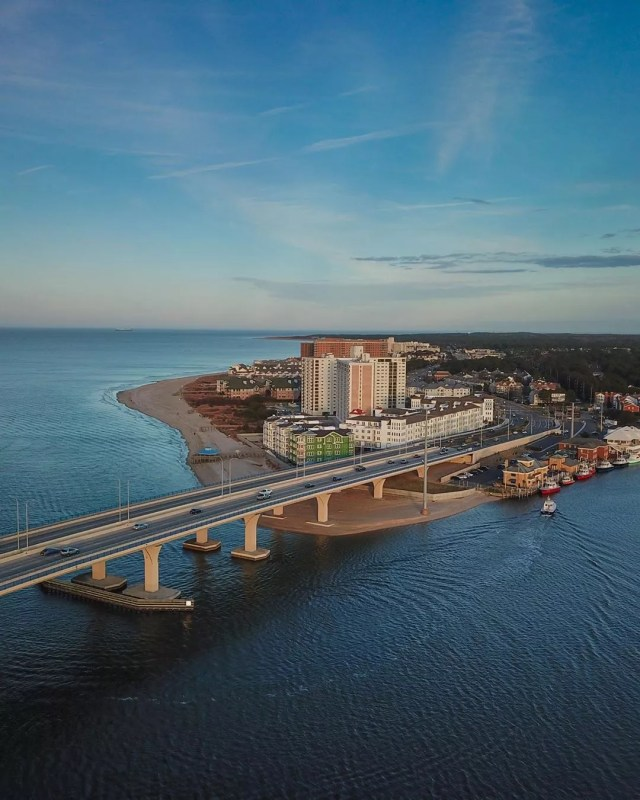 virginia beach view from a drone with water and city in view photo by Instagram user @