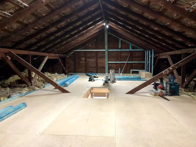 Attic project with floor finishing. Photo by Instagram user @attixaust