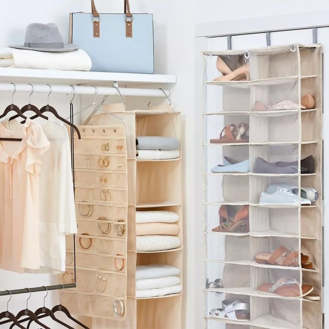 Hanging Storage with Jewelry, Shoes, and Towels. Photo by Instagram user @thecontainerstore