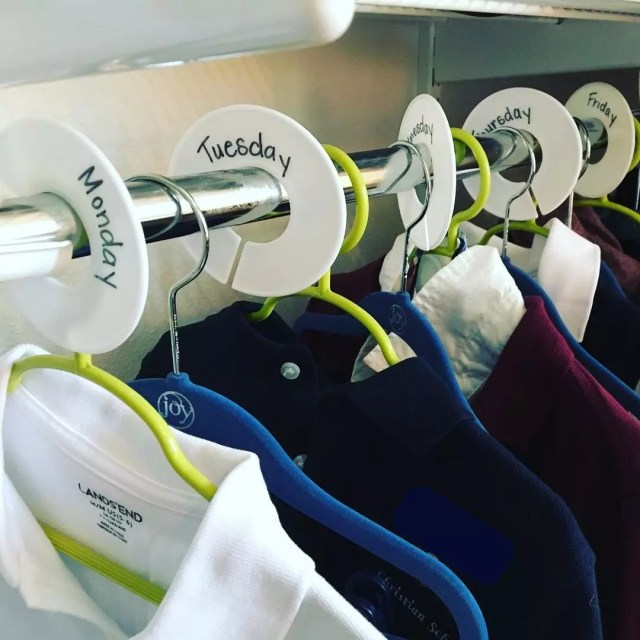 Hangers with Clothes Labeled by Day of the Week. Photo by Instagram user @kindercrafty