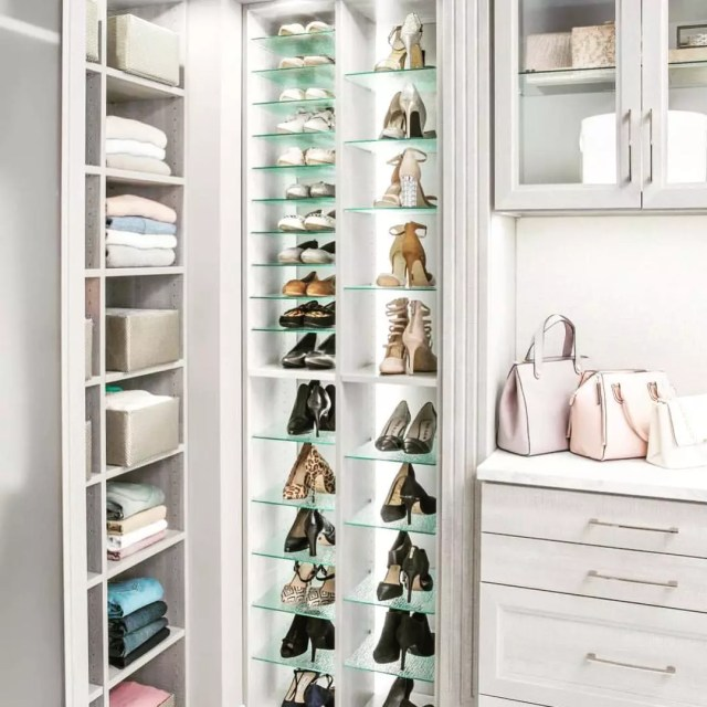 Glass Shelves for Storing Shoes in Closet. Photo by Instagram user @inspiredclosetsathens
