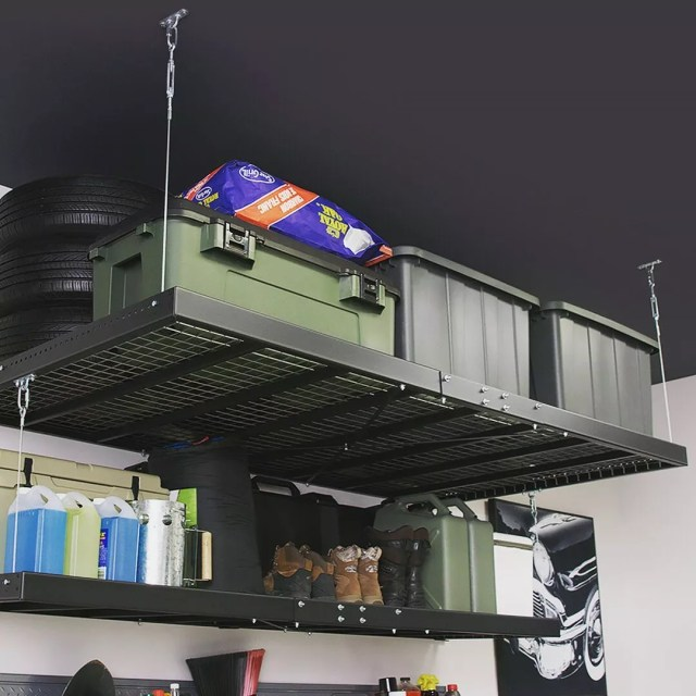 overhead storage racks hanging from the ceiling photo by Instagram user @newageproductsinc