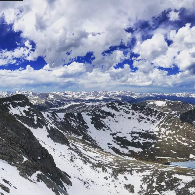 Moutain View of Snowy Mount Evans in Colorado. Photo by Instagram user @kali.kuzma