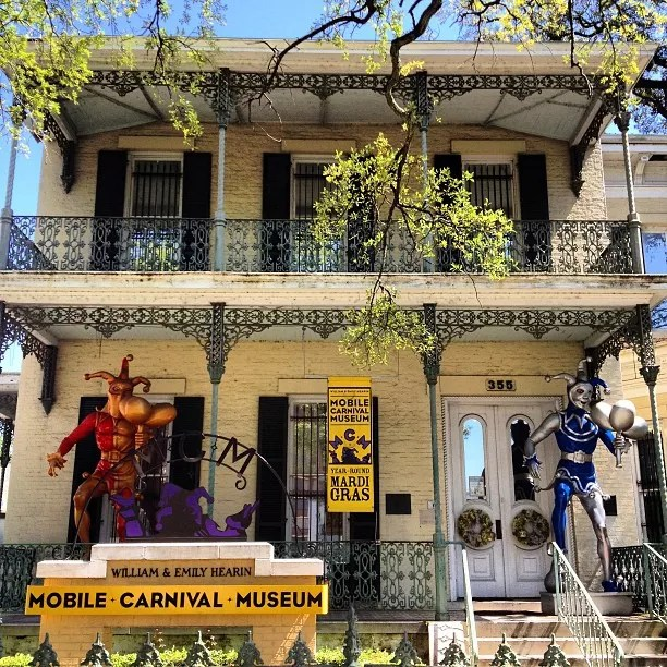 Exterior of the Mobile Carnival Museum in Mobile, Alabama. Photo by Instagram user @toomeysmardigras