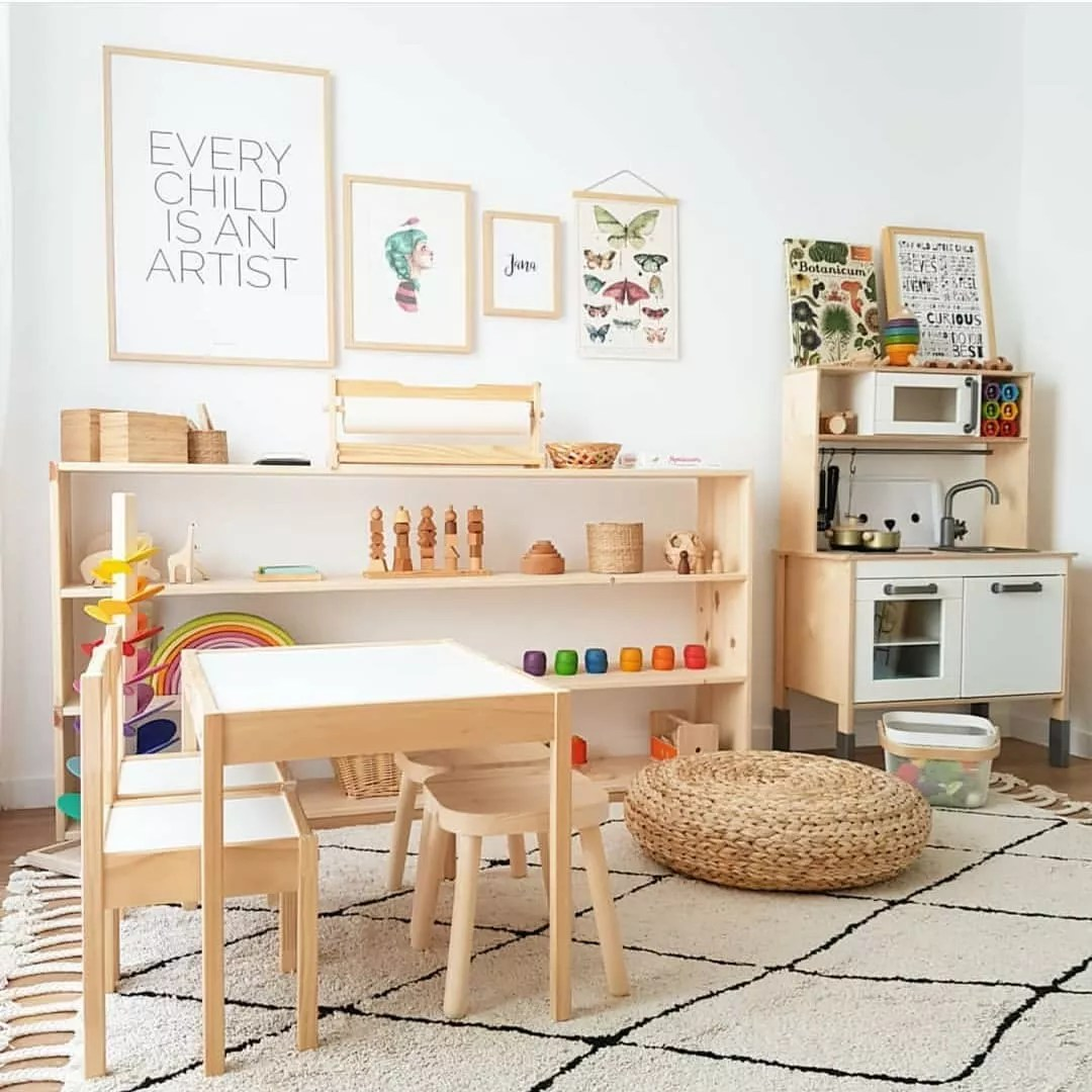 Small brown tables in kids art room. Photo by Instagram user @whiteandwander