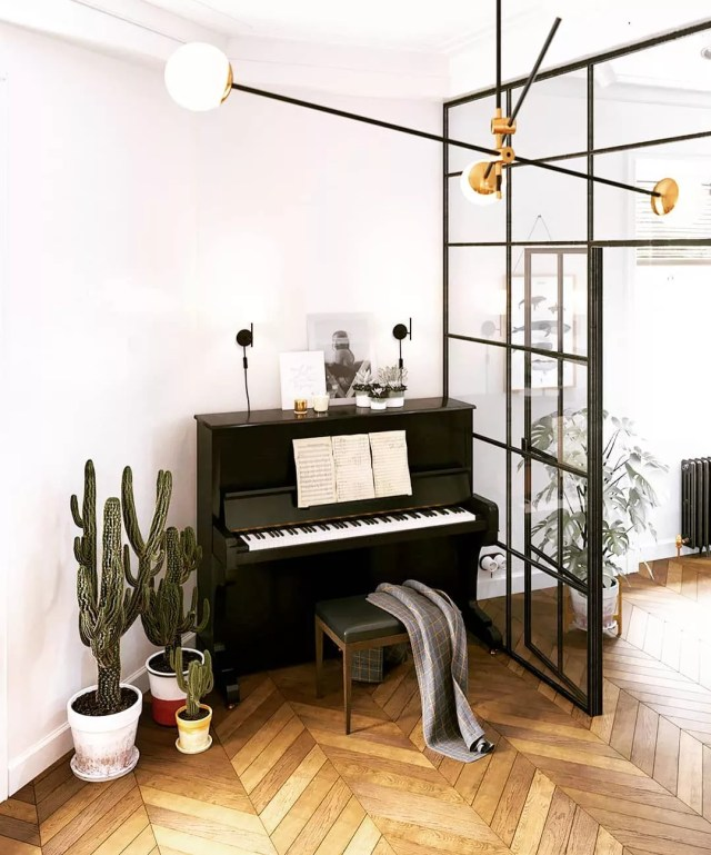 music room with piano and glass wall with stylish chandelier photo by Instagram user @gracegift999