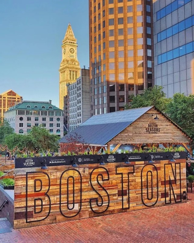 Wooden Boston sign in Downtown Boston. Photo by Instagram user @bretclancy