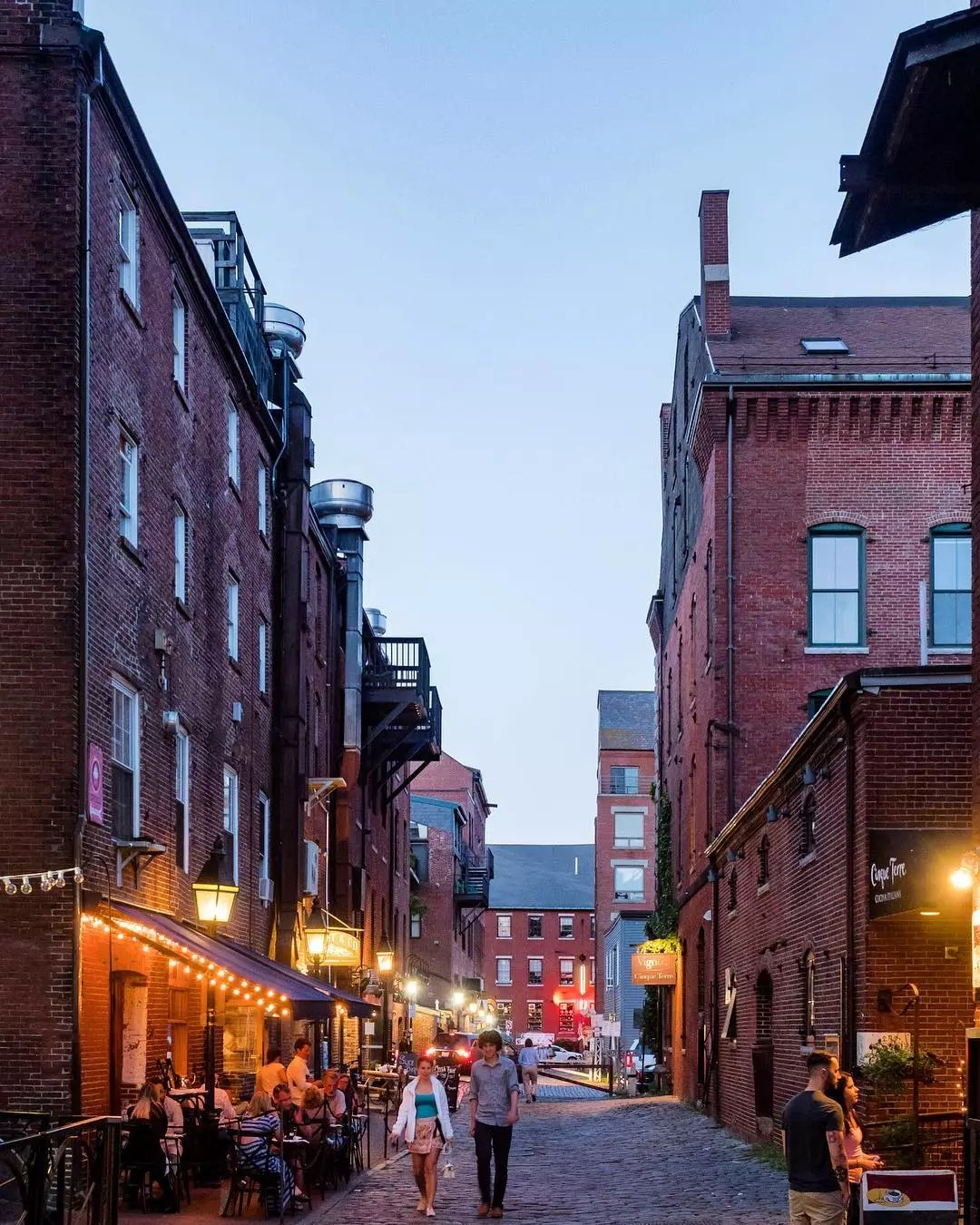 Brick buildings in Downtown Portland, ME. Photo by Instagram user @pfephoto