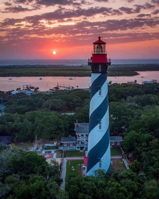 Aerial view of the St. Augustine Lighthouse at sunset. Photo by Instagram user @ck_outside