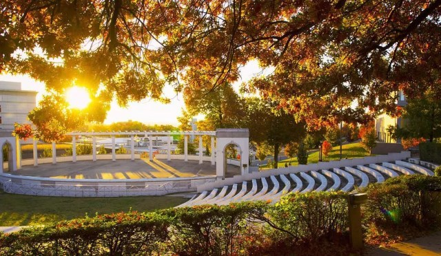 university of arkansas campus at sunset photo by Instagram user @uarkansas