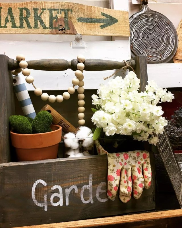 Garden wooden tote box with tools and gloves. Photo by Instagram user @ivyhouseantiques