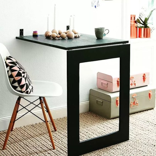 Table That Folds Into Wall When Not in Use. Photo by Instagram user @wallytables