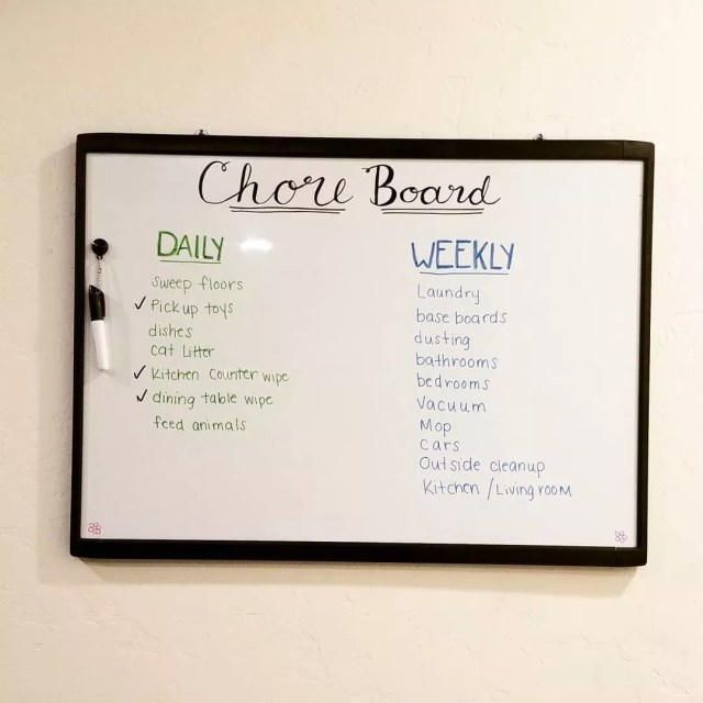 Dry Erase Board with Chores Assigned on It. Photo by Instagram user @osbofamily