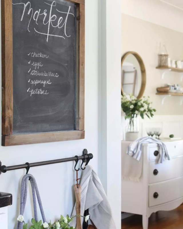 Chalkboard with Shopping List on Wall. Photo by Instagram user @pineandprospecthome