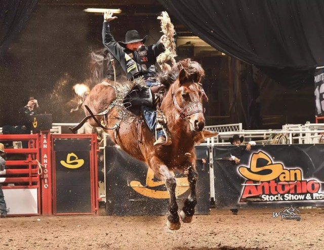 Rodeo rider Rusty Wright at the San Antonio Rodeo in 2018. Photo by Instagram user @sanantoniorodeo