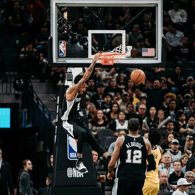 San Antonio Spurs basketball player dunking. Photo by Instagram user @spurs
