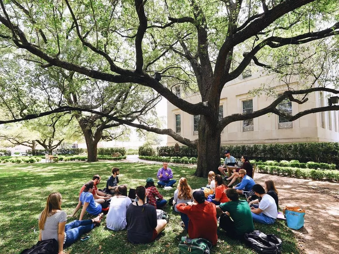 College Study Group Meeting Outside on the Lawn. Photo by Instagram user @bayloruniversity