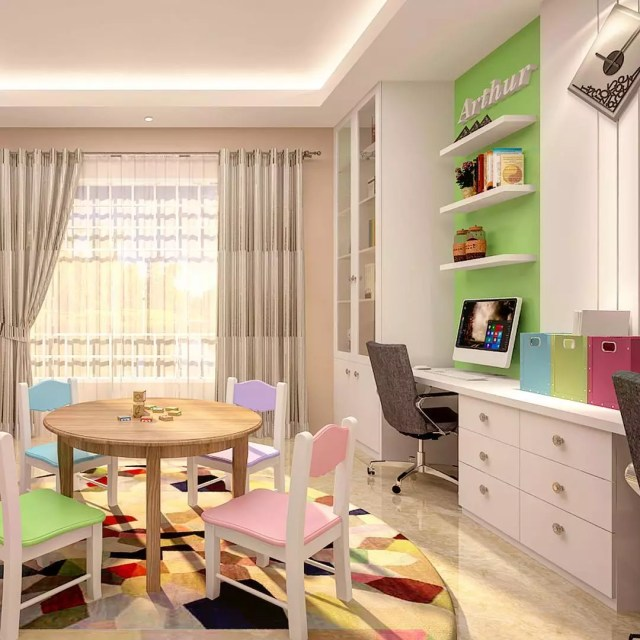 Kids study room with color walls and decor. Photo by Instagram user @hineniconsultantandassociates
