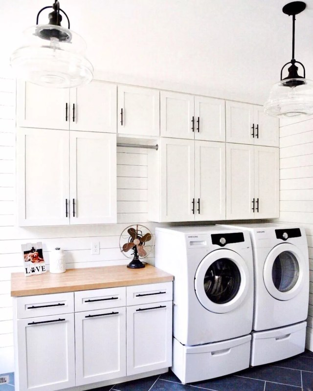Spacious farmhouse-style laundry room. Photo by Instagram user @brunoandlibby