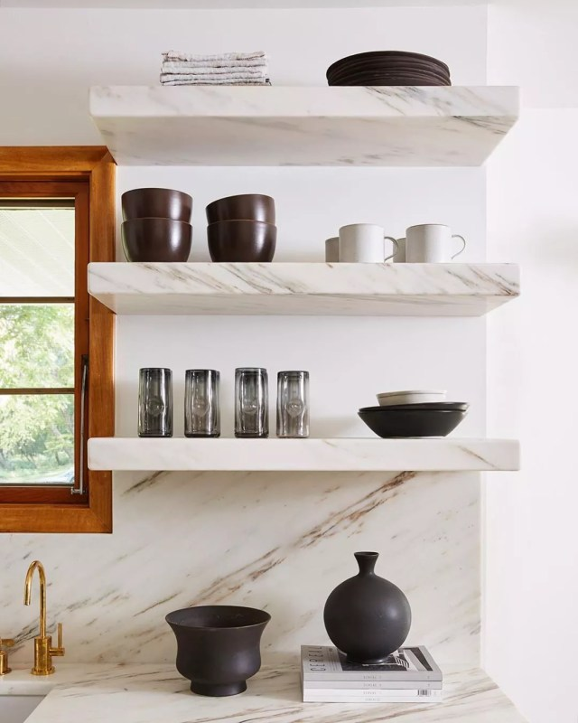 Open shelving in contemporary kitchen. Photo by Instagram user @jkath_designbuild