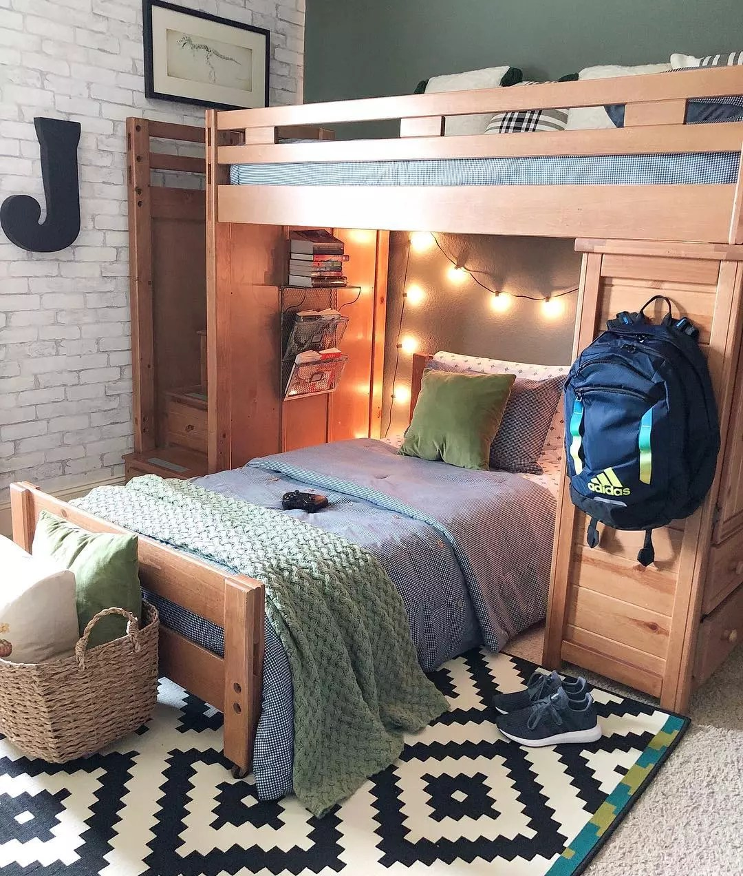 Bedroom with Bunk Beds and Fun Zig-Zag Carpet. Photo by Instagram user @blessedonbluefinch