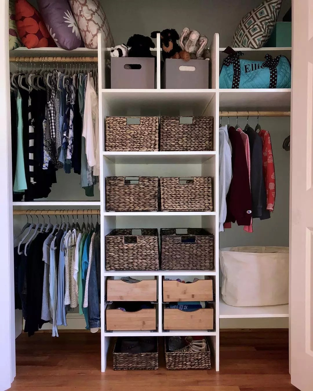Closet with Hanging Shelves, Storage Boxes, and Other Storage. Photo by Instagram user @shelfspaceorganizing