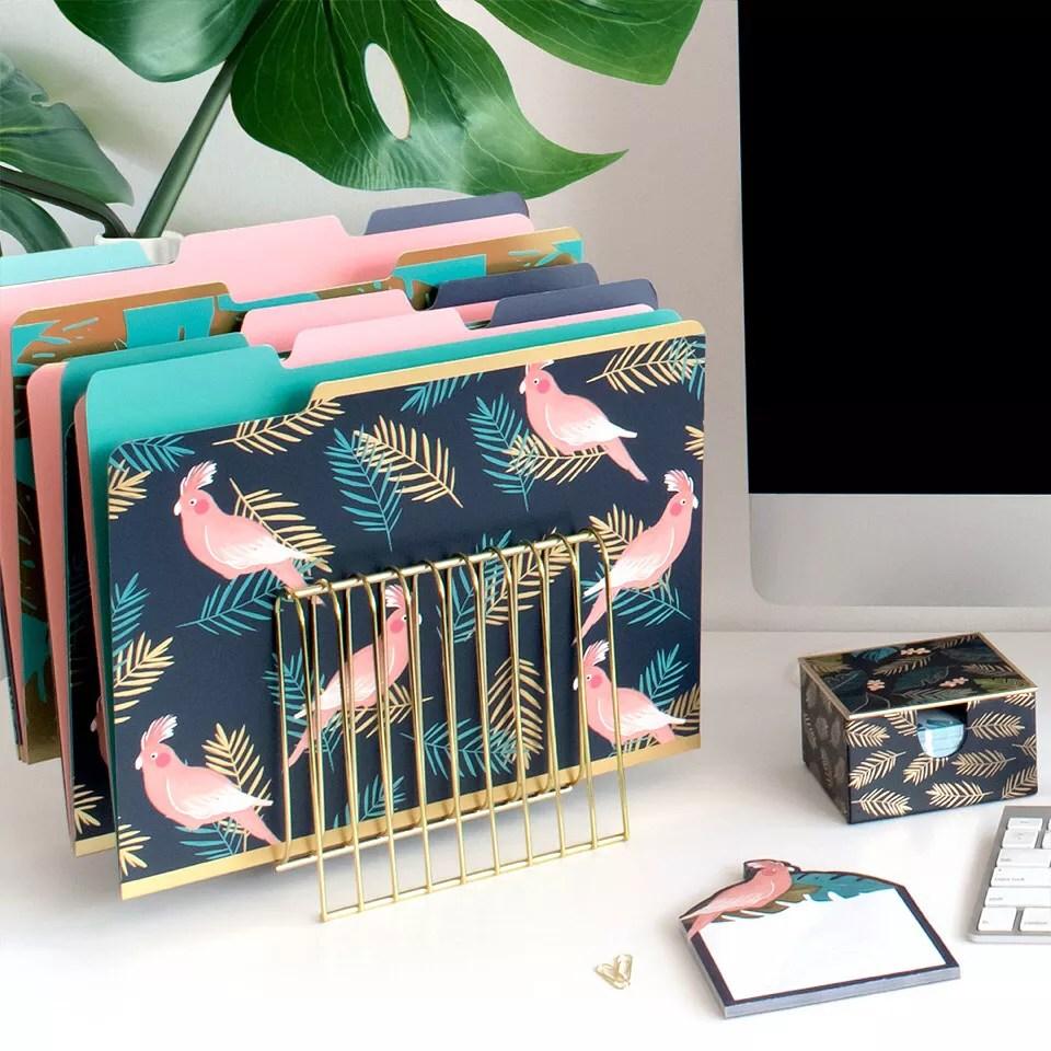 Organized Desk with Folders in Holder. Photo by Instagram user @shopladyjayne