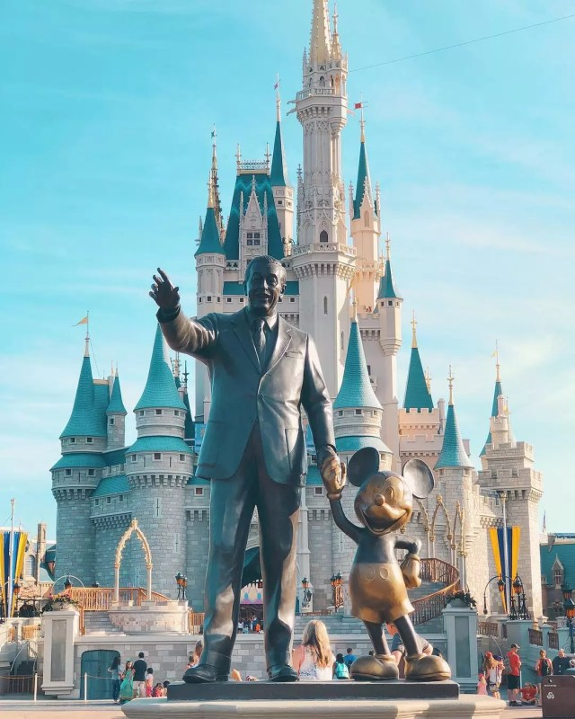 Closeup of statue of Walt Disney holding hands with Mickey Mouse with the Cinderella Castle in the background Photo by Instagram user @wisheseverafter
