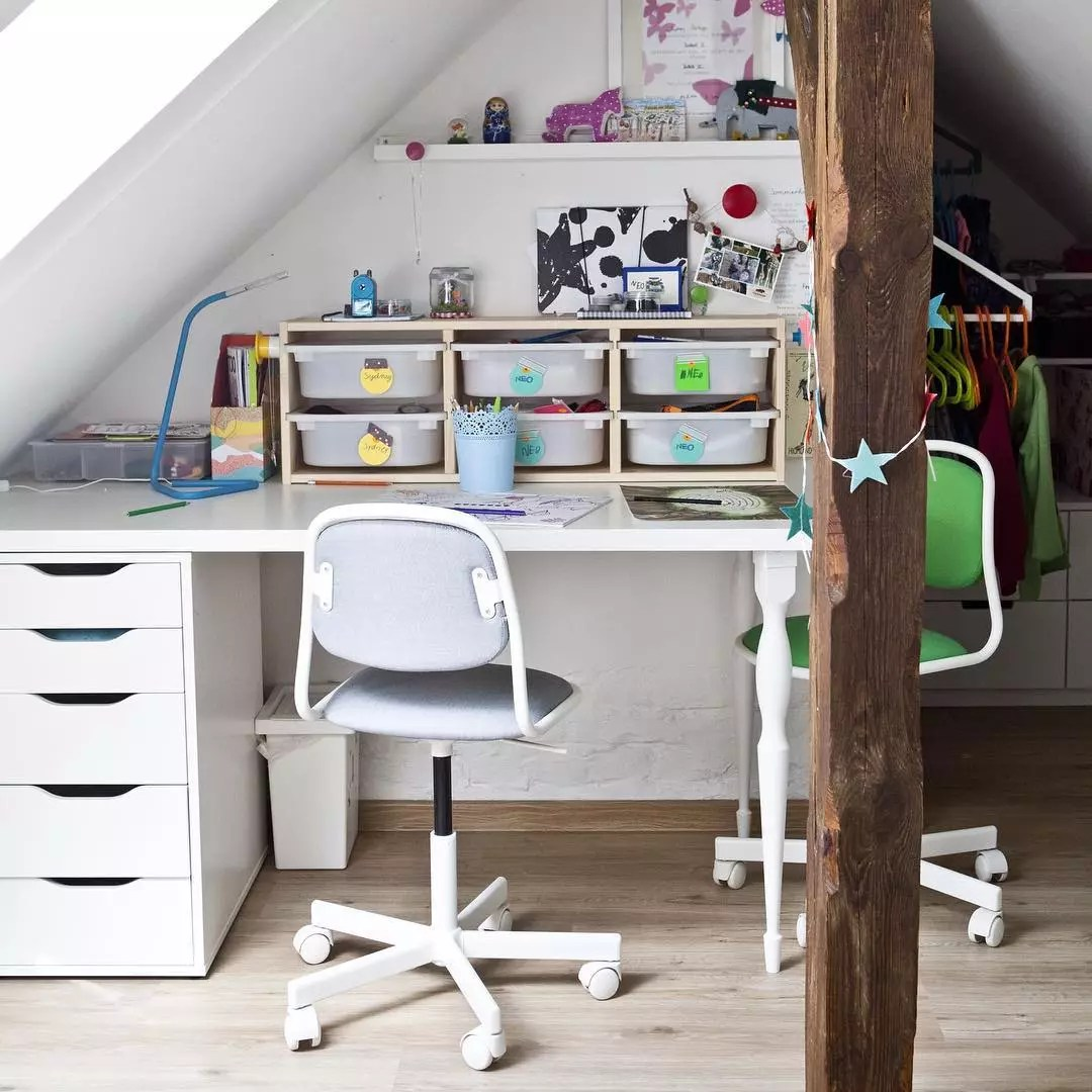 Desk with organizers for supplies. Photo by Instagram user @ikeafamilymag