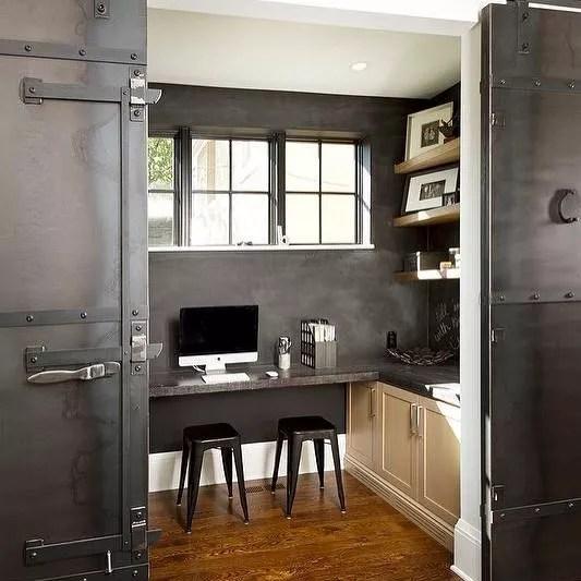 Modern Home Office with Sliding Barn Doors. Photo by Instagram user @organizerjanet