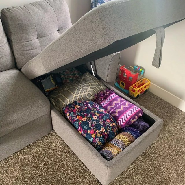 Couch with Hidden Storage Compartment. Photo by Instagram user @keep.calm.and.clean.on