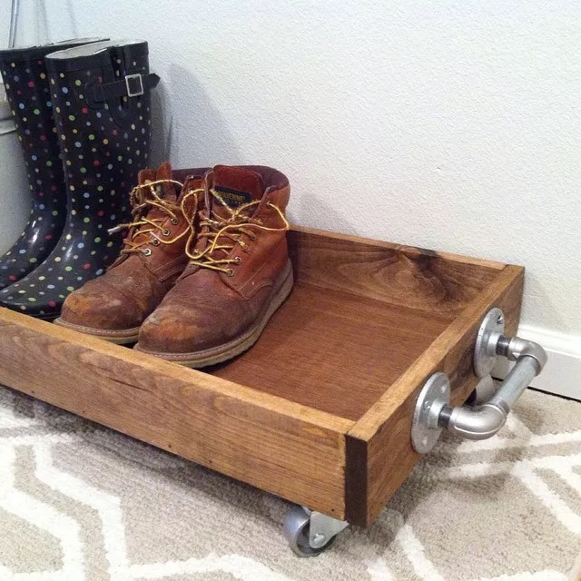 Boot tray on wheels. Photo by Instagram user @freedomfarmstead