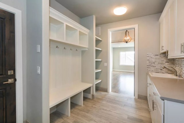 White organized mudroom