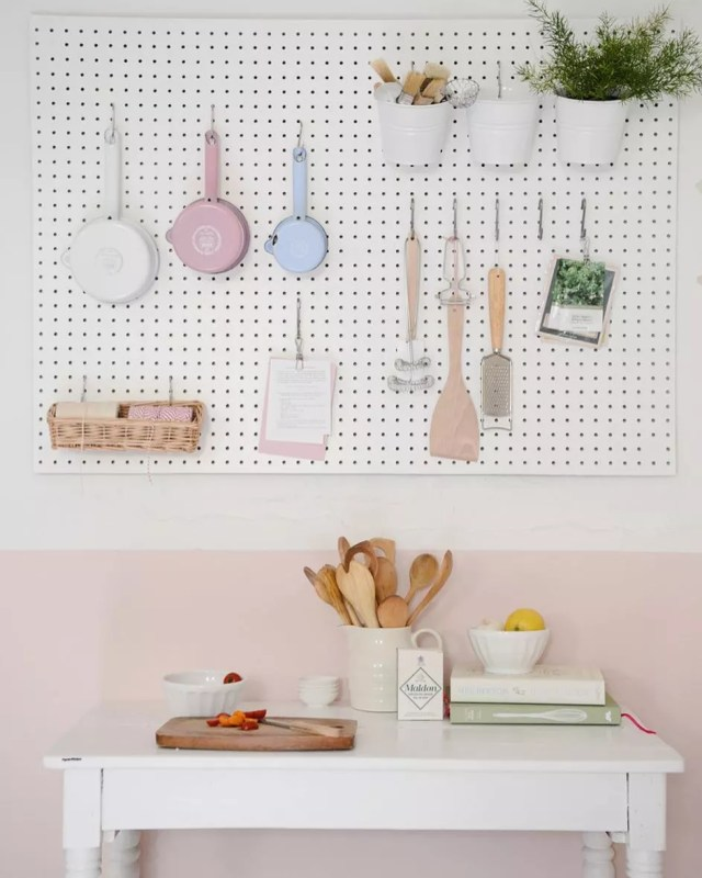 Pegboard for kitchen utensils. Photo by Instagram user @yvestown