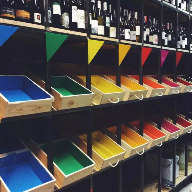 Wine Closet with Various Colors of Boxes. Photo by Instagram user @wine_corner