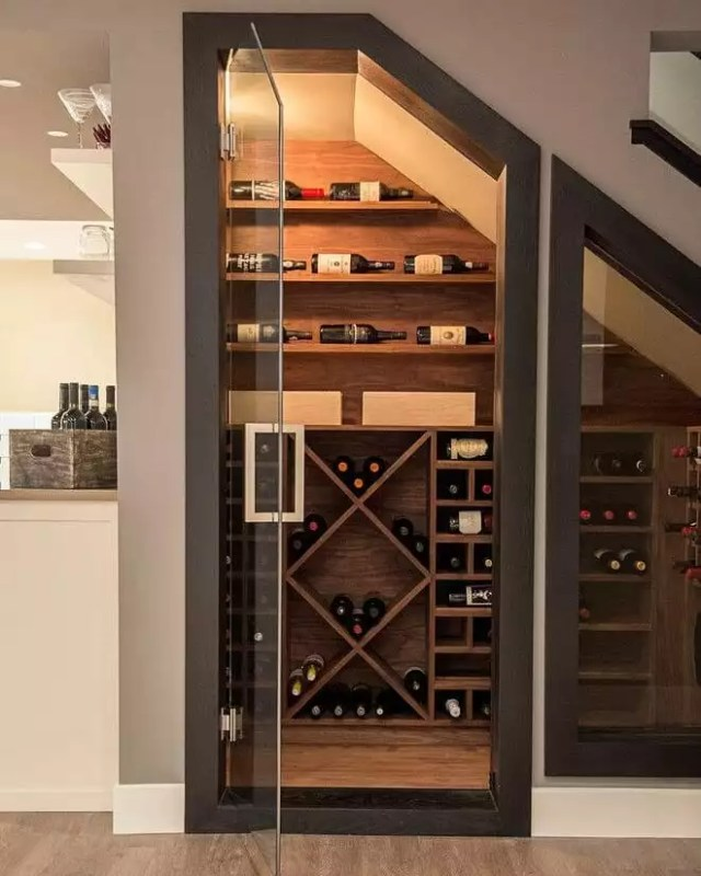 Wine Storage in the Basement Underneath a Staircase. Photo by Instagram user @lokalmente
