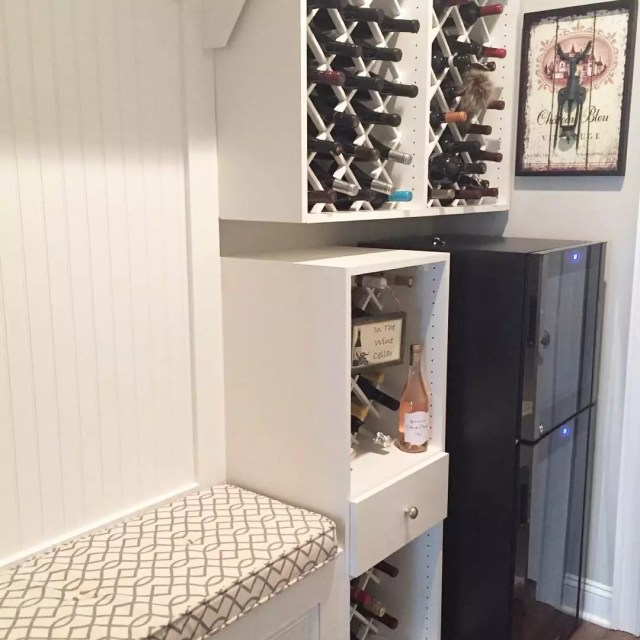 DIY Wine Rack in a Mudroom. Photo by Instagram user @your_organized_life
