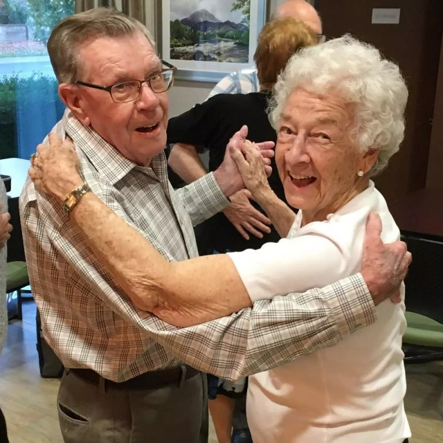 Elderly Couple Happily Dancing. Photo by Instagram user @briacommunities