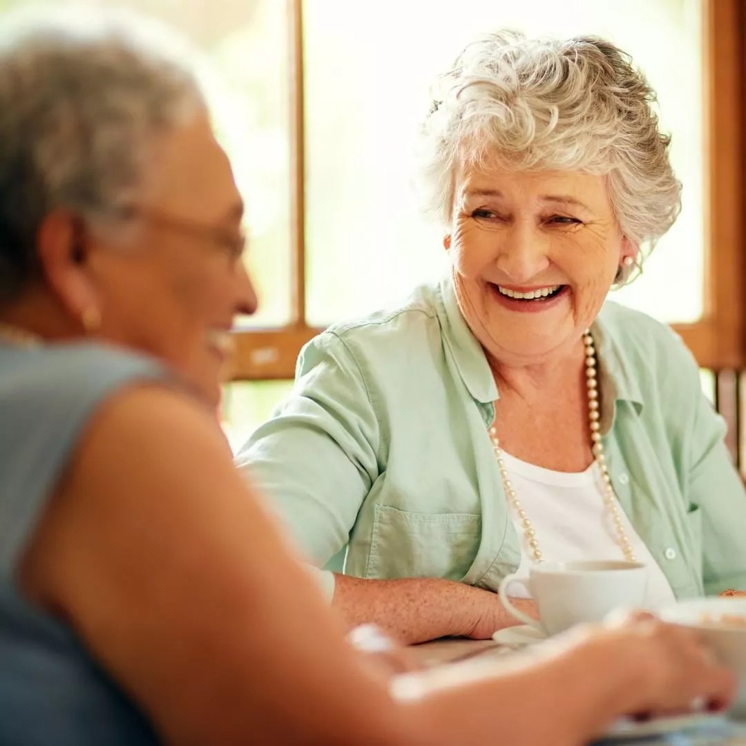 Elderly Women Chatting in a Coffee House. Photo by Instagram user @thevillasatstanfordranch